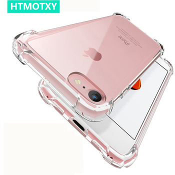 HTMOTXY Transparent Soft Case For iPhone 11 Pro Shockproof Silicone Airbag Cover For iPhone 11 Pro Xs Max 7 8 Plus 6 6S XR Case image