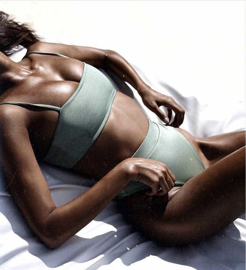2020 אביב חדש סקסי ביקיני סט נשים בגד ים מוצק ביקיני ללא משענת בגדי ים נמוך מותניים בגד ים נשי ברזילאי Biquini