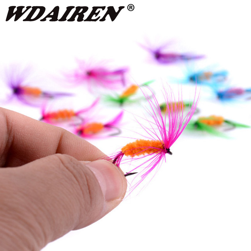 12Pcs/Set Insects Flies Fly Fishing Lures Bait High Carbon Steel Hook Fish Tackle With Super Sharpened Crank Hook Fishing Tackle 1