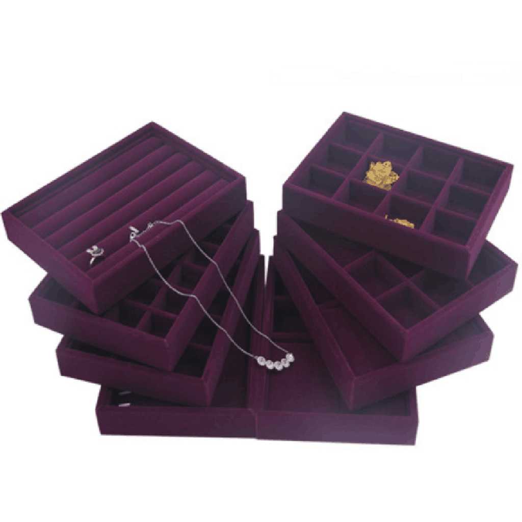 Elegant Purple Velvet Stackable Jewelry Ring Earring Display Tray 24 Girds Case Holder Organizers Storage Showcase