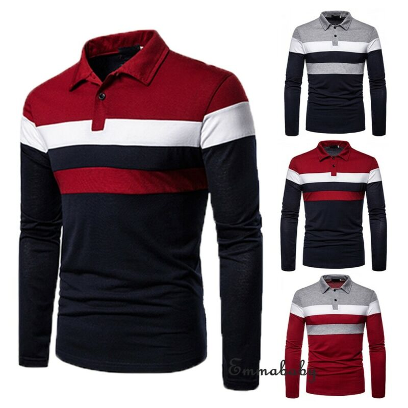 New Fashion Men Casual Long Sleeve Shirts Slim Fit Shirt Stitching Color Stripe Tops Blouse Business Casual Shirt