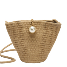 Straw Bag Fashion Women Shoulder Bags Small Beach Bag Wheat Pole Weave Handbag Ladies Tote Summer Luxury Pearl Designer Bucket