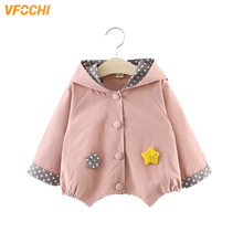 VFOCHI New Baby Girl Trench Coat Windbreaker Yellow Pink Thick Jacket Children Clothing Autumn Toddler Outerwear