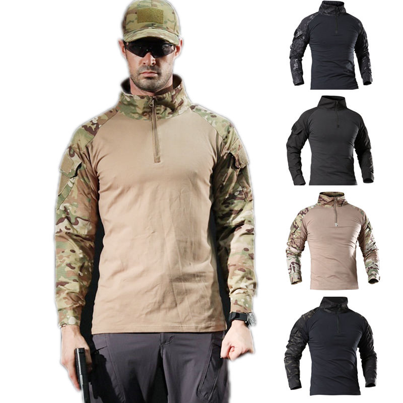 Tactical Military Training T Shirt Airsoft Camouflage Combat Shirt Rapid Assault Long Sleeve Shirt Battle Strike Hunting Clothes