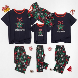 2020 Xmas Dad Mom Kid Baby Family Pajamas Parent Child Outfit Christmas Homewear Cartoon Snowflake Elk Pentagram Print