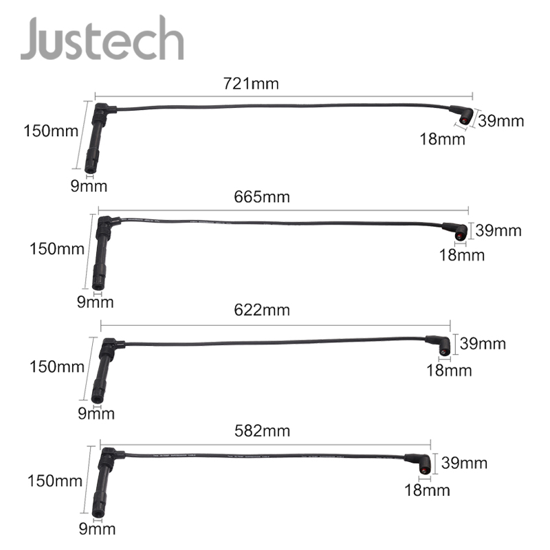 Justech 4Pcs Ignition Cable For Audi Seat Skoda VW Bora Golf  Lupo Polo Klasseic Variant Spark Plug Ignition Cable Set