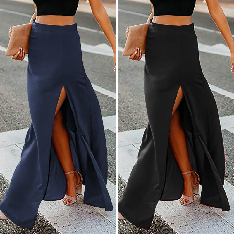 ZANZEA 2020 Women Sexy High Slit Skirts Ladies Solid Maxi Skirts Casual Back Zipper Up Faldas Mujer Elegant Long Skirt Plus Size