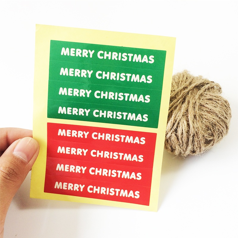 80pcs/lot Cute Green+Red Simple Merry Christmas series  DIY Multifunction Paper Labels Handmade Self-Adhesive Gift Sticker