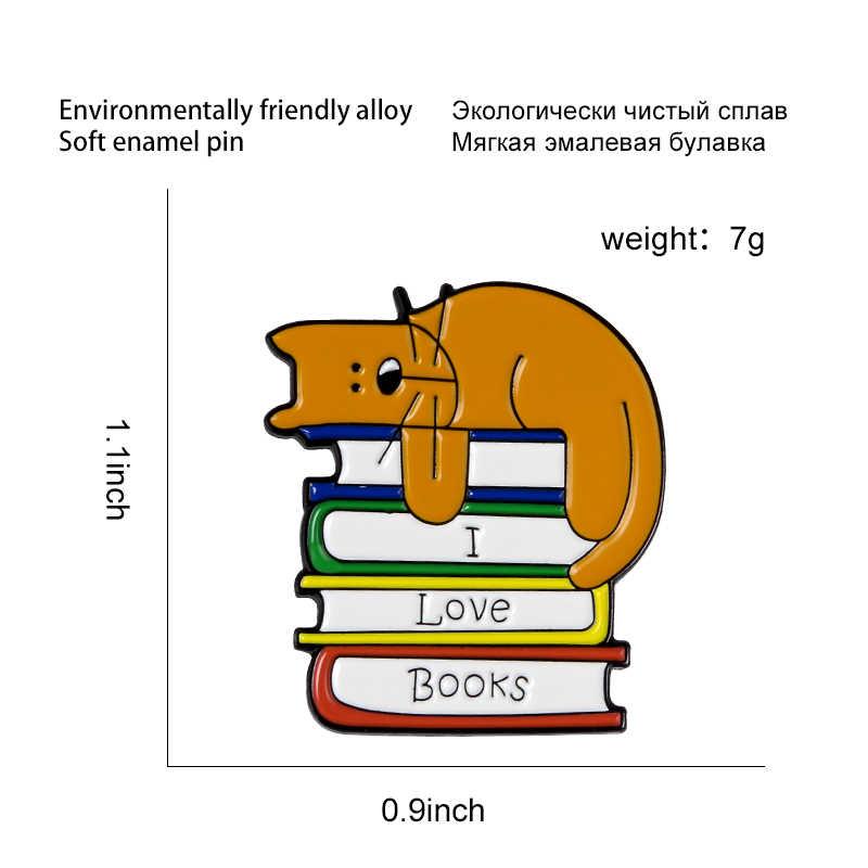 読書愛動物エナメルピンかわいい猫犬私は愛の本のブローチ睡眠にブックラペルピンバッジシャツバッグジュエリーギフト