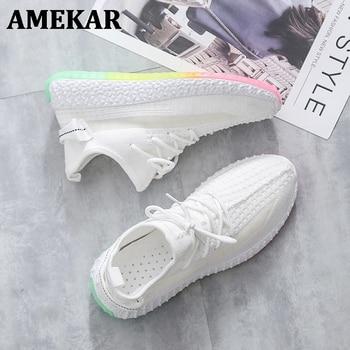 Women Sneakers Sock Shoes Mesh Breathable Running Q9 2021 Tenis Feminino Rainbow Sole Casual Round Toe
