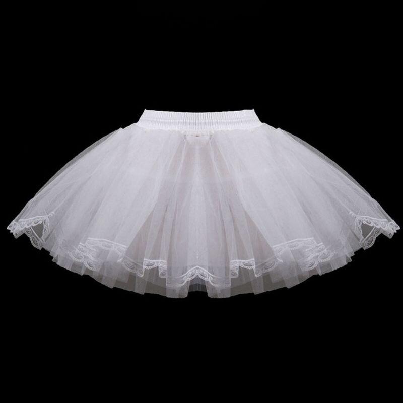 Hard Net Lace Bride Wedding Dress Petticoat Kids Women Short White Mesh Petticoats Elastic Drawstring Waistband No Hoop Tulle