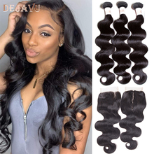 Body-Wave-Bundles Closure Non-Remy Weave Brazilian Dejavu with Cabelo 4--4