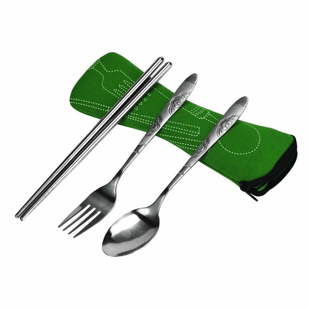 卸売ステンレス鋼フォークスプーン箸ポケットバッグアウトドアスポーツキャンプピクニック食器カトラリーセットパーティー # C7