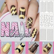 3 pz/borsa moda nuovo Nail Art adesivi francesi v-line linea d'onda mezzaluna adesivi a forma di cuore 24 stili sono disponibili
