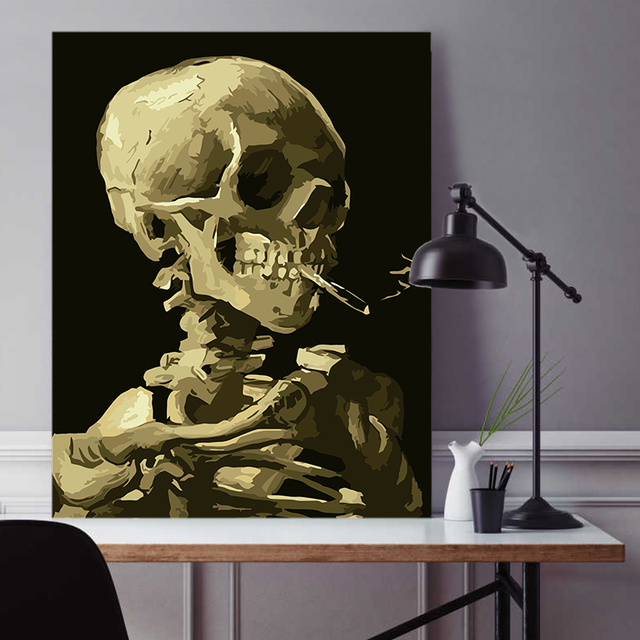 Painting By Numbers Smoking Skull Gothic Horror