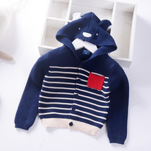 Cardigan Sweater for Baby Boy 2019 Autumn Warm Cotton Knit Jacket Cartoon Shape With Cap Toddler
