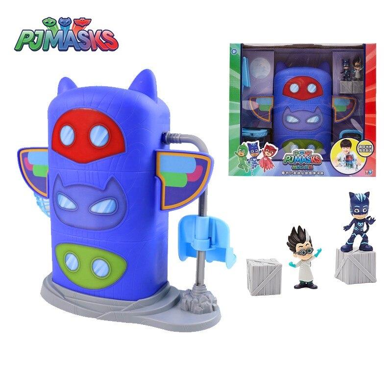 Original Box PJ Masks Headquarters Building Cartoon Fun Scene Toys Set Catboy Owlette Gekko Anime Action Figure Model Kid Gift