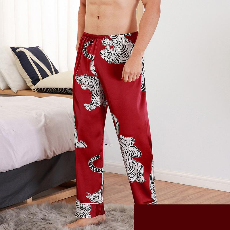 ALI shop ...  ... 32991116281 ... 2 ... CEARPION Men Sleep Bottoms Satin Sleepwear Soft Nightgown Pants Elegant Crane Print Pajama Pants Male Lounge Night Wear ...