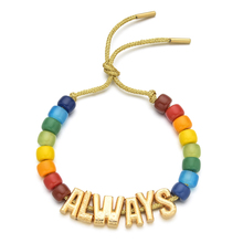 ZMZY New Fashion Colorful Stone Initial Gold Color Letter Bracelets Adjustable Rope Chain Rainbow Jewelry For Women Best Gift