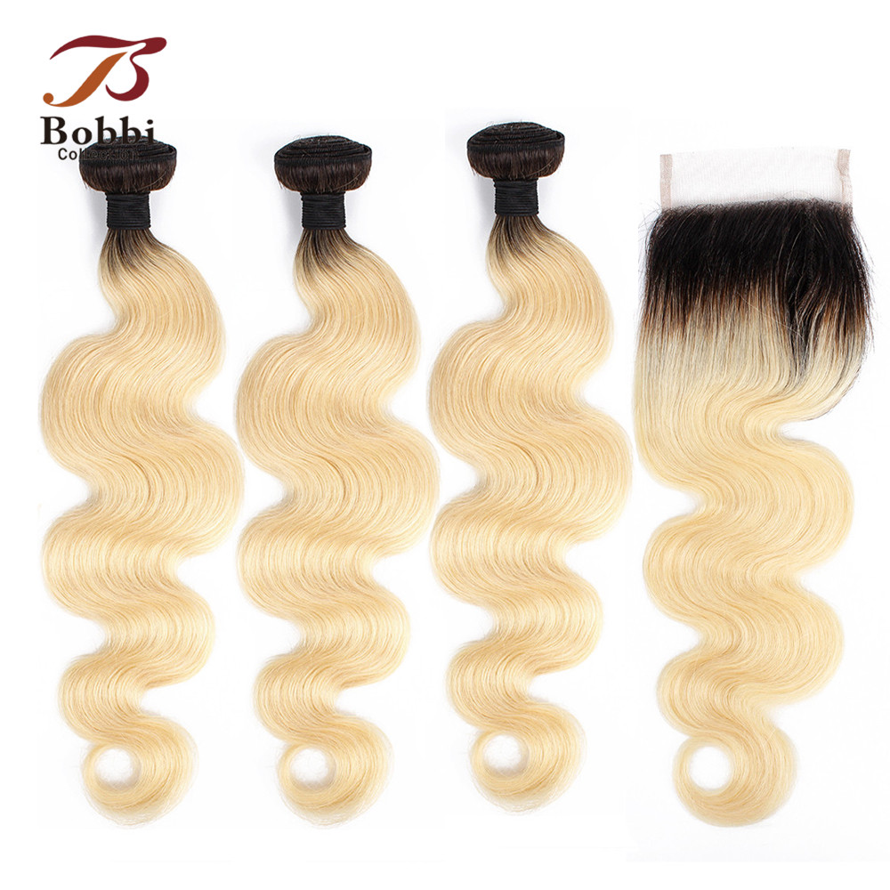 BOBBI COLLECTION Ombre T 1B 613 Dark Root Platinum Blonde Bundles With Closure Ombre Brazilian Body Wave Non Remy Human Hair