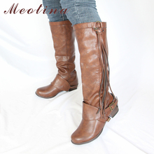 Meotina Autumn Knee High Boots Women Fringe Buckle Chunky Heels Long Boots Slip on Round Toe Shoes Female Winter Plus Size 34-43 2017 big size 34 47 women knee high boots sexy chunky high heels round toe winter autumn shoes round toe less platform m188