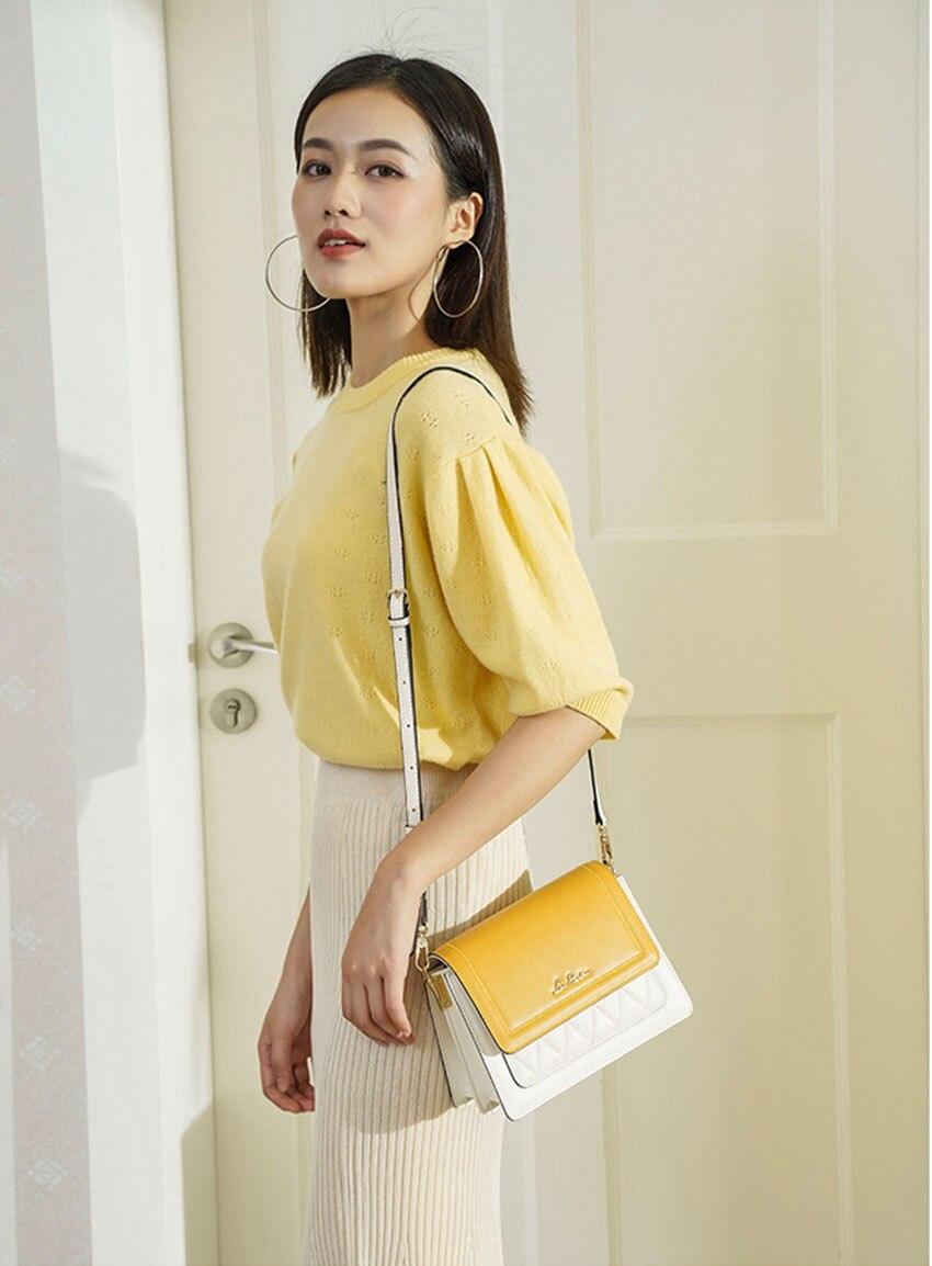 LAORENTOU women leather bag  2020 new fashion contrast color crossbody bag Wild single shoulder bag Small fresh messenger bag 1