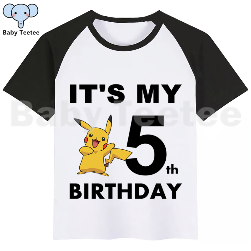 Pokemon Go Pikachu Boys Girls Birthday T-Shirt Print Kids Birthday Clothes Boy Tops Children Clothing Birthday Party Tee Shirts