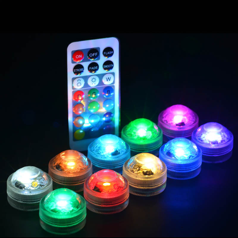 1Pc Plastic Candle Lamp Remote Controller Fish Tank Decoration Waterproof Round Shaped Colorful LED Aquarium Light