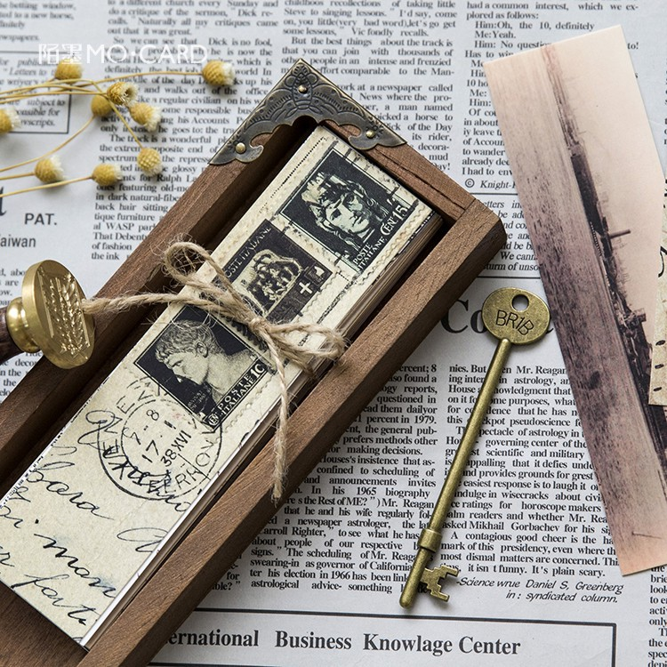 Journamm 30pcs/box Vintage Retro Style Clock Newspaper Map Bookmarks for Novelty Book Reading Maker Page Creative Paper Bookmark 6