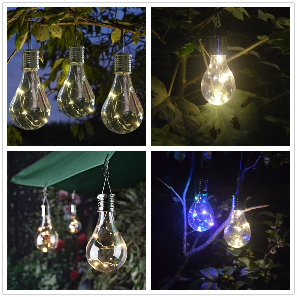 Waterproof Light Control Solar Light Bulb Rotatable Garden Light Outdoor LED Solar Lamp Camping Hanging Lamps Solar Lighting