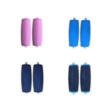 Rodillo para pedicura con incrustaciones, rodillos para el cuidado de los pies, removedor de durezas mate de piedra, herramienta para el cuidado de los pies, 4 colores, 2 uds.