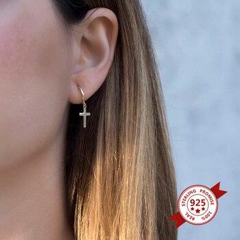 925 Sterling Silver Hoop Earrings with Cross Zircon Hoop Earrings for Women Gold Silver Color CZ Zircon Earrings Fashion Jewelry цена 2017