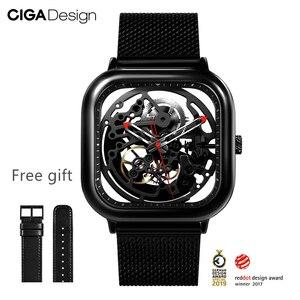 Image 3 - CIGA Reloj de pulsera mecánico ahuecado, de acero inoxidable, de lujo, automático