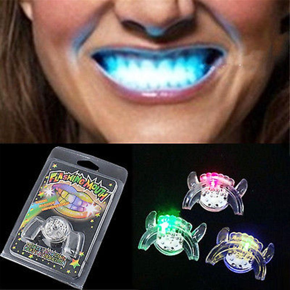 Halloween Trick Or Treat Funny LED Light Up Flashing Mouth Piece Glow Teeth For Party Denture Rave Event Decoration Kids Gift