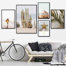 Home Decor Nordic Canvas Painting Starfish Wall Art Girl Print Cactus Plants for Living Room Ocean View Poster Picture(China)