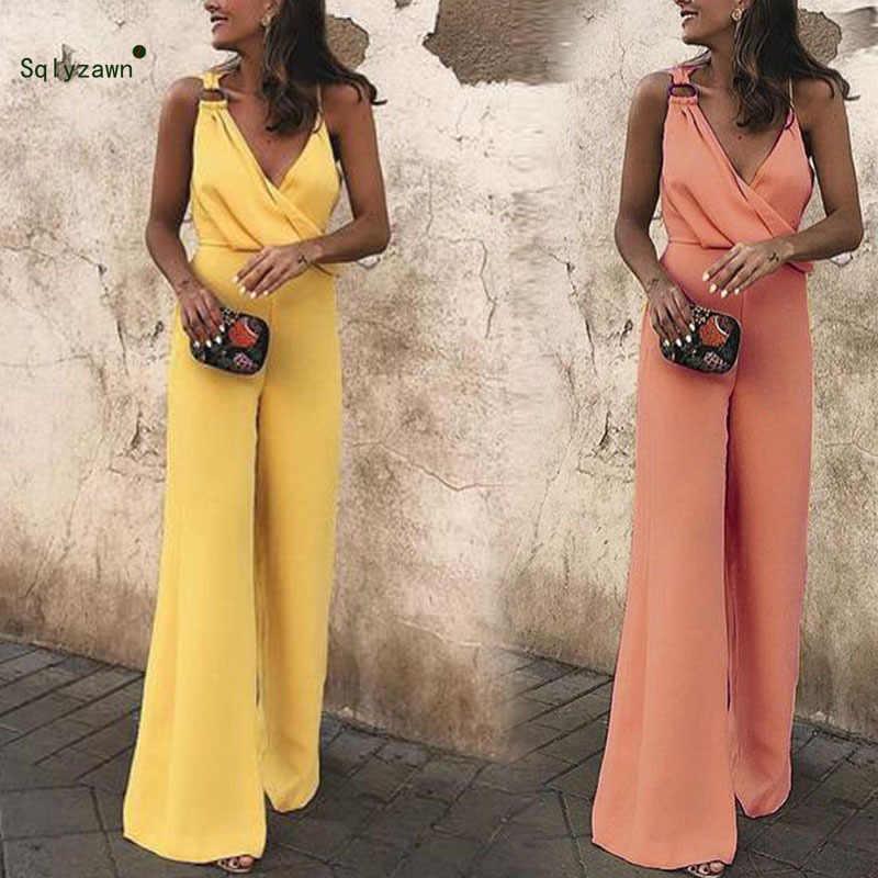 Nowy Sexy Off ramię Party pasy kombinezon kobiety szerokie nogawki długie spodnie pajacyki z dekoltem w kształcie litery v eleganckie asymetryczne kombinezony dla kobiet 2019
