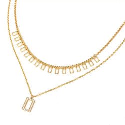 MxGxFam 2 Chain Geometry Pendant Necklaces For Sexy Women Europe Hot Jewelry Gold Color 18 k Good Quality