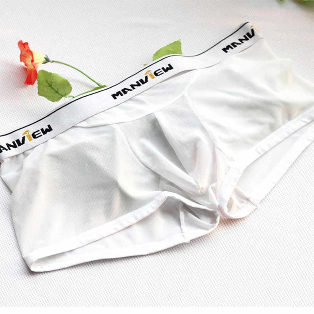 גברים סקסי בוקסר הבליטה פאוץ תחתוני קטן רשת שקוף לראות דרך לנשימה מהיר יבש תחתונים