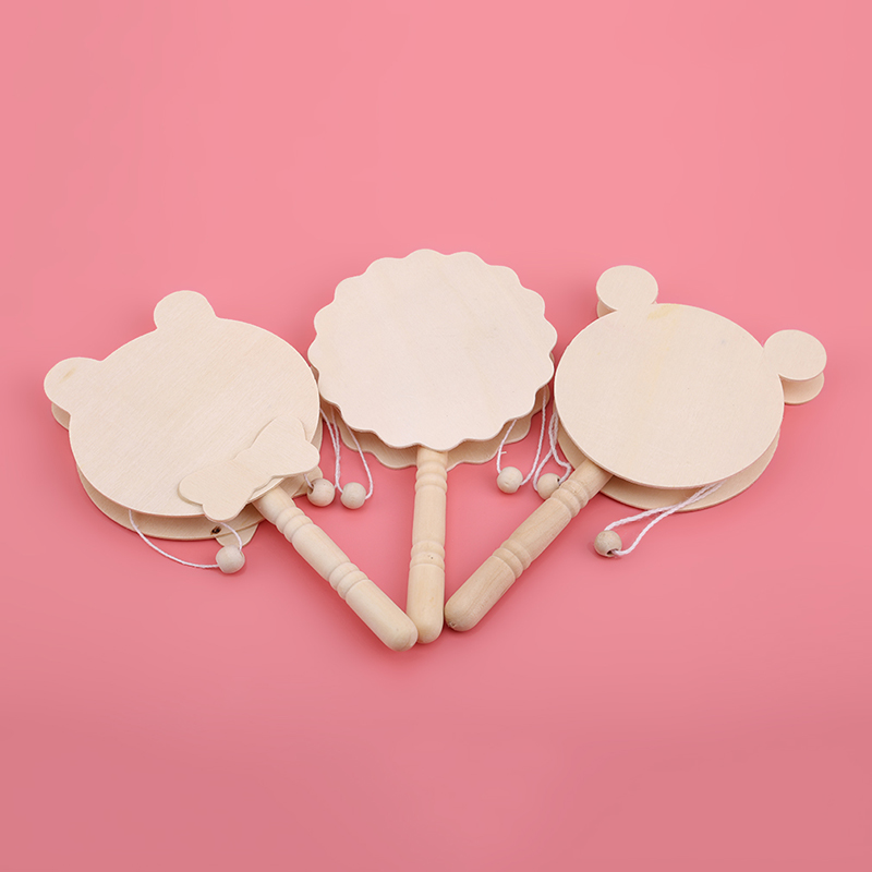 Baby Wooden Rattles Pellet Drum Toy Rocking Drum Musical Instrument Toy For Baby Gift Pellet Baby Rattles Toy Newborn 0-12 Month
