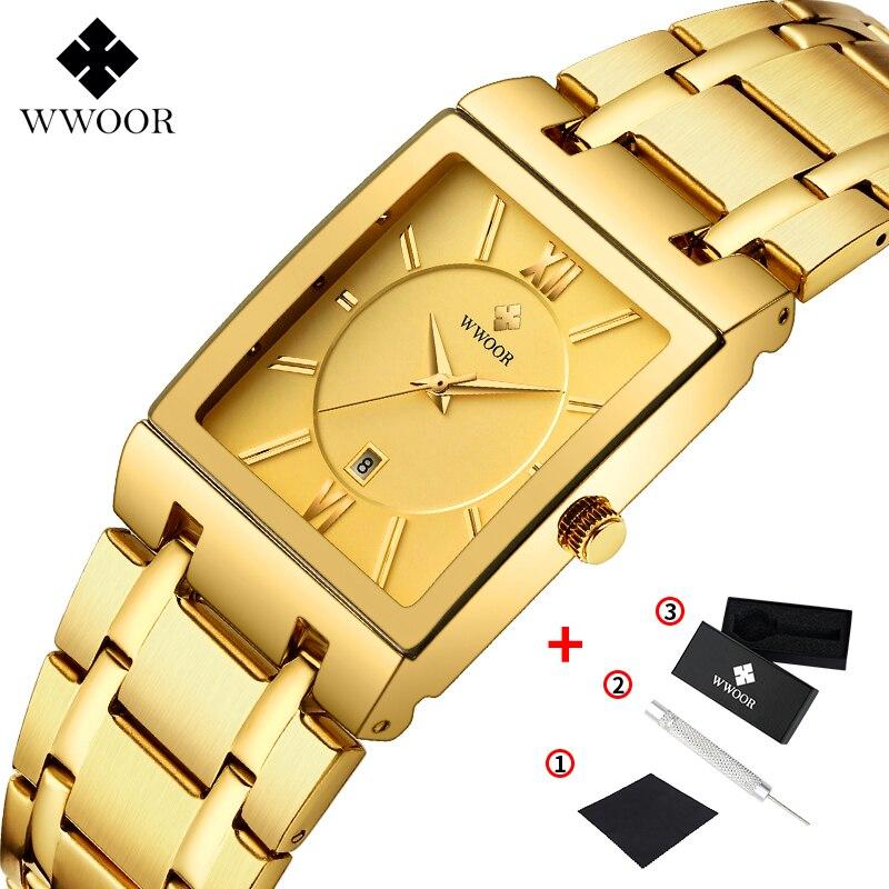 WWOOR Luxury Mens Watches Gold Square Quartz Watch Men Top Brand Date Clock Waterproof Golden Bracelet Business Male Wrist Watch