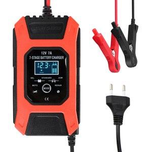 Image 2 - 습식 건식 납 산성 배터리 충전기 디지털 LCD 디스플레이 7 단계 자동 스마트 자동차 배터리 충전기 12V 7A