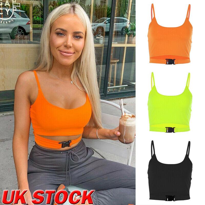 UK STOCK Womens Buckle Vest Boob Tube Crop Top Sheer Mesh T Shirt Cami Tank Tops