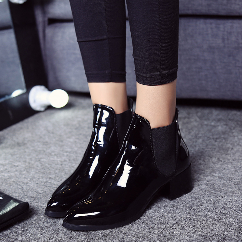 Dwayne Autume Women Single Boots Square Heel Martin Ankle Boots Womens Motorcycle Boots Pointed Toe Boots Zapatos De Mujer Bo 89