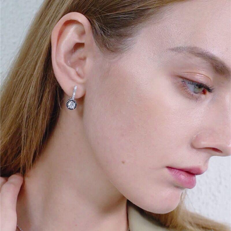 Black Awn, новинка, винтажные серьги-кольца из натуральной 925 пробы, серебряные, для помолвки, для женщин, черные и белые каменные украшения T001