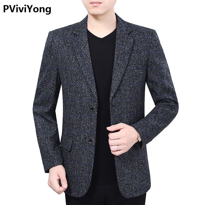 PViviYong 2019 New Middle-aged Men High Quality Slim Lattic Blazer Jacket Two Button Lapel Casual Long Sleeve Pockets 1923