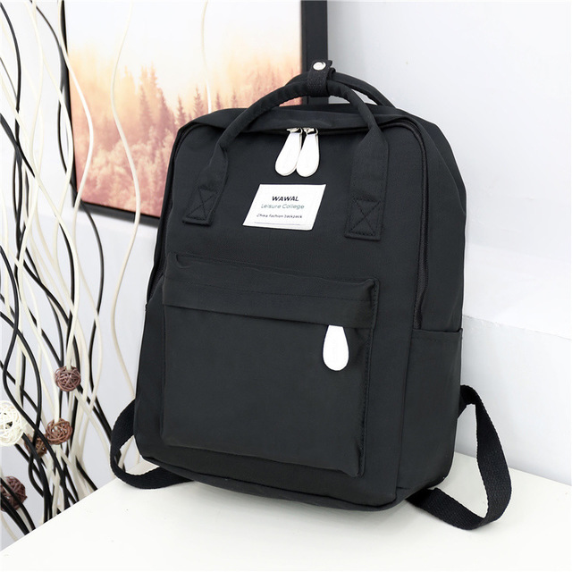New College Backpack Casual Girls Teenagers Shoulder Bags Canvas Zipper Daypack Book Bag Travel Backpack