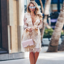 Hot 2019 autumn new street style womens fashion sexy deep V lace ruffled long-sleeved mesh and knee fishtail dress