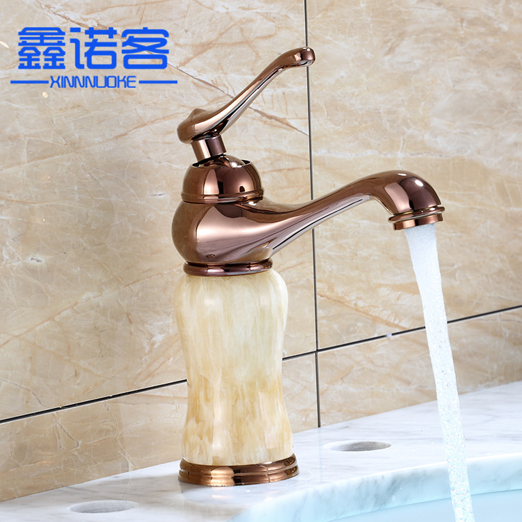 European Style Bathroom Cabinet Tap Rose Gold Basin Hot And Cold Mixing Faucet Jade Washbasin Faucet Wholesale