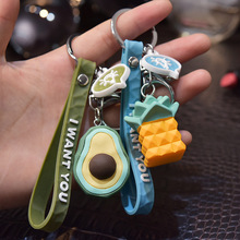 Fruit Keychain Key-Ring Car Pendant Simulation Mini Watermelon Mobile-Phone-Bag Fun Creative