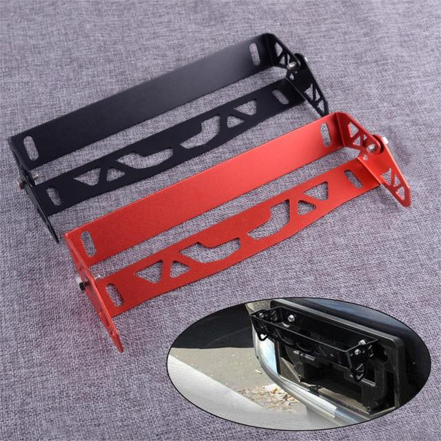 DWCX parachoques delantero Universal para coche, de aleación de aluminio, soporte de montura de placa de matrícula giratoria ajustable, relocalizador, marco de barra de soporte